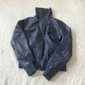 Navy Pleather Bomber Jacket Cute Elastic Blue